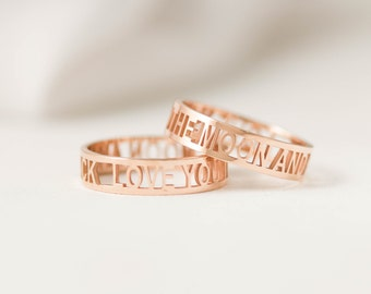 40% OFF* Custom Mantra Ring • Personalized Name Ring • I Love You Ring • Gift for her • Gift for mom • Gift For Sister • Wedding Band • RM26