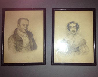 Pair of Victorian Portraits of Mr & Mrs Kilner