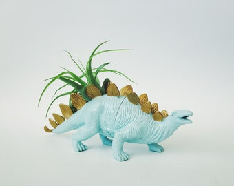 Large Light Blue + Gold Stegosaurus Dinosaur Planter  + Air Plant; Dinosaur Planter;  Dino; Home Decor; Desk Accessory; Office Planter; Gift