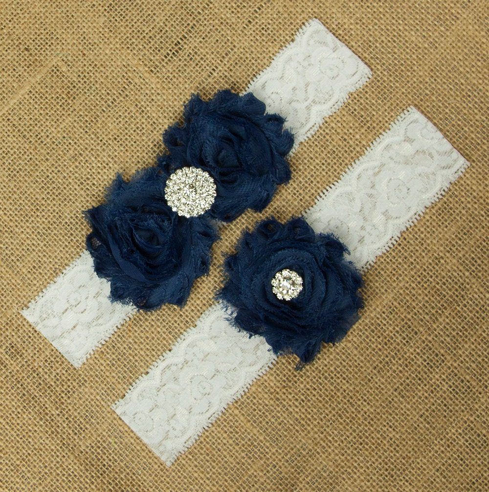 Navy Blue Garter Navy Garter Set Navy Blue Wedding Garter