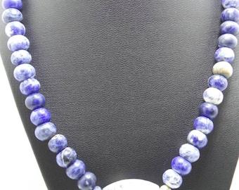 Handmade Sodalite beaded barrel necklace.