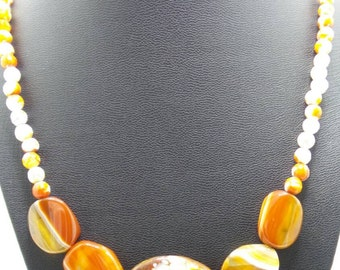 Handmade Orange Agate Beaded Necklace.