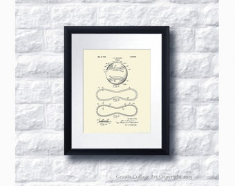Baseball Patent Print #5 with cream background, baseball decor, baseball home decor, baseball gift for him, boys room decor