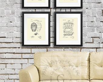 Baseball Home Decor Art Prints set of 4 unframed Prints for Boys Bedroom Decor, Baseball Birthday Gift, Sports posters baseball mom decor