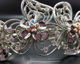 New Bridal Silver & CZ  Rhinestone Swirl Crystal Cluster Silver 3 1/2'' Hair Barrette