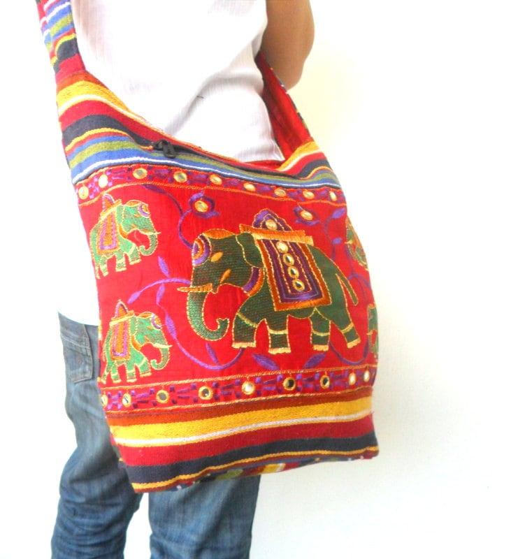 Shoulder bag elephant embroidered multicolor by