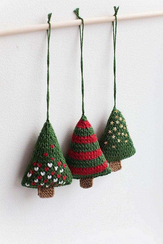 Christmas 3 Pcs Set Of Festive Knitted Xmas Trees Decorations