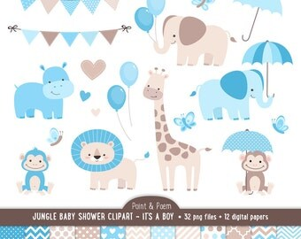 Baby Shower Clip Art, Jungle Animals, Baby Boy clipart, It's a boy Baby Shower, Cute Jungle, Baby Shower - Commercial Use