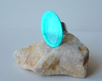 Vintage Turquoise Guilloche Enameled Silver Ring, Iridescent Blue Modern Boho Ring, Oval Adjustable Size Ring 7, 8, Retro Ring, Collectible