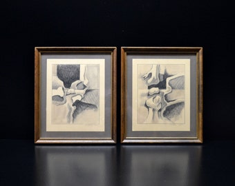 Two Mid Century Modern Signed and Dated Graphite Sketches, Felder, 12/71