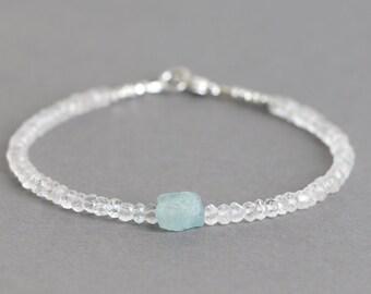 White Topaz Bracelet Aquamarine Bracelet Beaded Bracelet March Birthstone Gemstone Bracelet Raw Aquamarine Nugget Bracelet