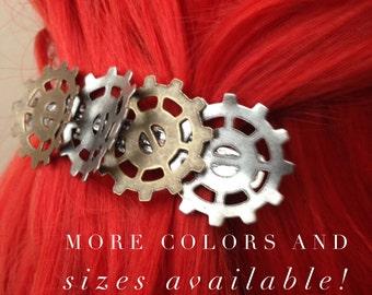 Steampunk Hair Clip, Steampunk Bent Gear Hair Clip, Industrial Gear Hair Clip, Steampunk Accessories, Steampunk Bridesmades Hair Accessory