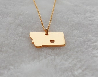 Personalized Montana Necklace Rose Gold,Montana Charm State Necklace, MT State Pendant Jewelry,Montana State Necklace With A Heart