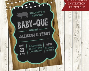 Custom Baby BBQ Shower Invite- Chalkboard baby shower printable invite- rustic Baby que barbecue shower printable
