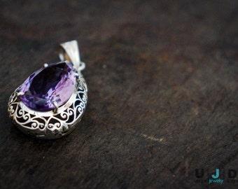 Amethyst Pendant, Latticework, Hand Cut, Silver Pendant,Sterling Silver, .925, Unique,Statement, Real, Earthy, One of a kind,Lattice, Purple