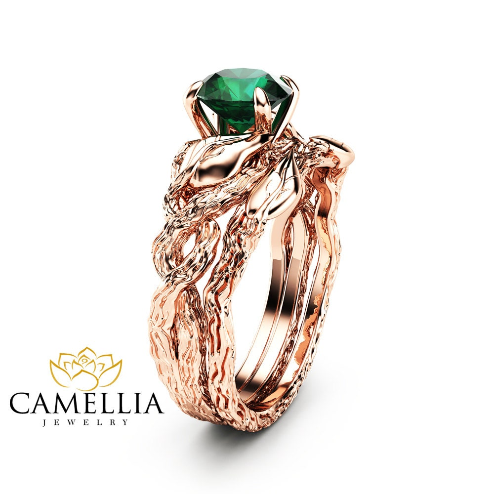 nature inspired wedding rings nature inspired emerald engagement ring set 14k gold 6097