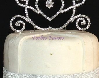 Real Rhinestone Princess Carriage Silver Birthday Special Cake Topper