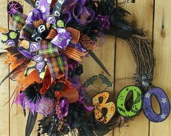 "Halloween ""BOO"" Grapevine Mesh Wreath-Ghost Wreath-Pumpkin Wreath-Halloween Mesh Door Wreath-Halloween Grapevine Wreath-Purple Wreath"