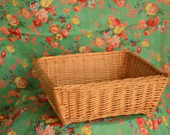Square Wicker Basket, Decorative Table Basket, Square Basket, Easter Egg Basket, Wicker Easter Basket, Wicker Bread Basket, Fruit Basket