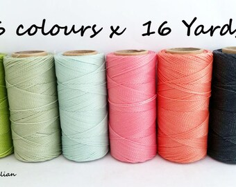 Macrame cord, set of 6 colours x 16 yards, macrame bracelet, colours pastel, macrame ring, macrame supplie, baby color, barbie pink, Thread