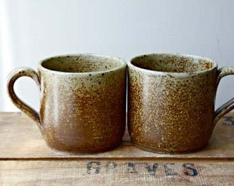 Pair of Vintage Pottery Mugs, Earthy Speckled Brown Stoneware Mugs