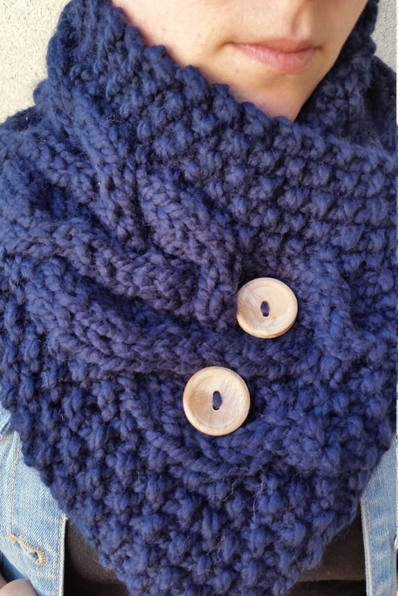 Knitted Cowl Pattern With Buttons : Christine Button Cowl Knitting Pattern by CozyUpShop on Etsy