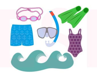 Swim svg, Summer svg, Beach svg, SVG, DXF, EPS, cutting files, for use with Silhouette Cameo and Cricut Design Space.