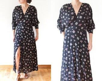 Vintage Black Boho Floral Dress // Long Maxi Dress // 80s Floral Print // Wrap Dress // Boho Style // Size Medium