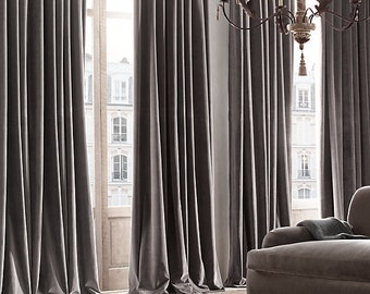 GRAY FAUX VELVET curtains, grey, faux suede, velvet, draping, home decor, interior decor, curtains, window treatment, charcoal
