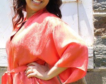 Coral 100% Silk Kimono Robe