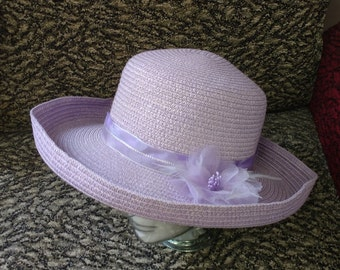 Vintage Style Wide Rim Summer Sun Hat Lilac with Flower of  Ribbons and feathers