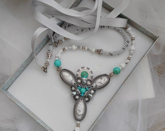 Long Boho Necklace Turquoise Soutache Jewelry Beaded Statement Necklace Delicate Everyday Jewelry
