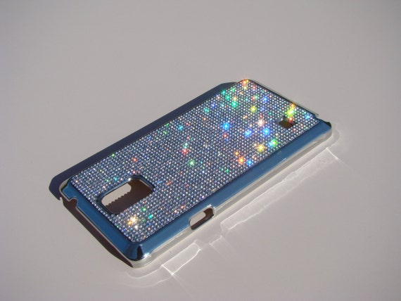 Galaxy Note 4 Clear Diamond Rhinestone Crystals on Silver Chrome Case. Velvet/Silk Pouch Bag Included, Genuine Rangsee Crystal Cases.