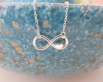 Sterling silver infinity necklace, infinity necklace, infinity love