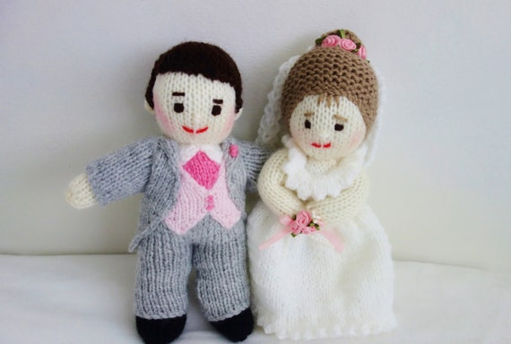 Knitted Wedding Gifts: Hand Knitted Bride And Groom Dolls Wedding Gift Knit Mr