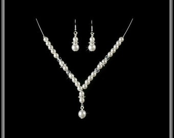 First Holy Necklace & Hook Earring Illusion Sets Flower Girl Jewelry Gift