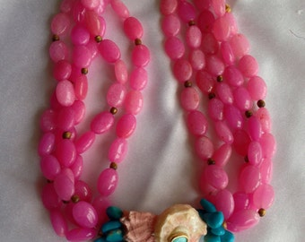 Turquoise and Shell Pink Beaded Necklace