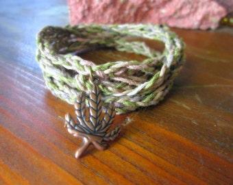 Hemp Wrap Bracelet / Hemp Anklet, Pot Leaf Bracelet, Cannabis Charm, Legalize Weed, Camouflage Hemp Bracelet, Wrap Jewelry, Stoner Gifts