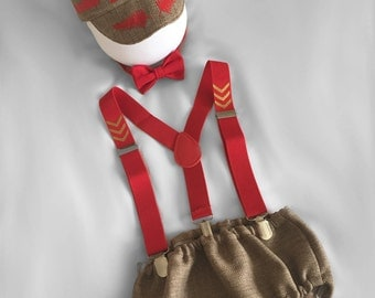 Personalised Red and Tan Vintage Pilot .. Baby boy 1st Birthday...Photo Prop Dressup...Cake Smash Outfit...Baby photo shoot Outfit...