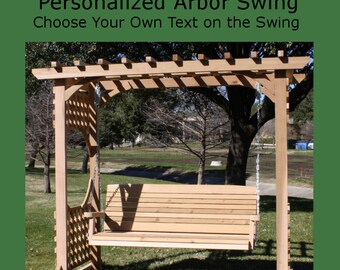 New Personalized Cedar Colonial Style Arbor & 5 Foot Porch Swing - Choice of Name/Phrase Woodburned on Swing - Hanging Chain - Free Shipping