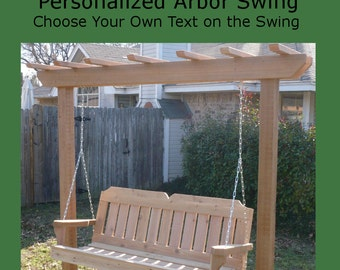 New Personalized Cedar Post Arbor and 6 Foot Porch Swing - Choice of Name/Phrase Woodburned on Swing - Hanging Rope - Free Shipping