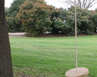 Brand New Child's All Cedar Tree Disc Swing with 15 Feet of Rope and Optional Personalization - Free Shipping