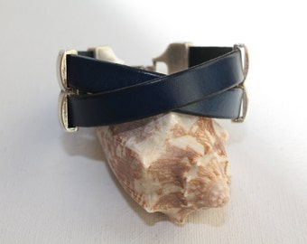 ON SALE Women s navy blue leather bracelet with a double hole separator