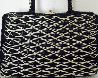 Vintage Black and White Woven Handbag