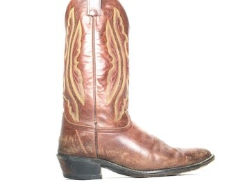 Size 10 EE - Vintage Justin Cowboy Western Boots Brown Leather