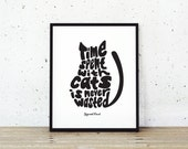 Cat Print, Typography Print, Sigmund Freud Quote, Time Spent with Cats is Never Wasted, Home Decor Sign