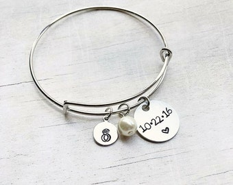 Gift for Bride from Bridesmaid - Wedding Date Bangle Bracelet - Gift for Bride - Christmas Gift for Bride