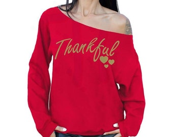 Thankful Thanksgiving Sweater Thanksgiving Outfit RED Sweatshirt Slouchy Oversized Off The Shoulder Sweater