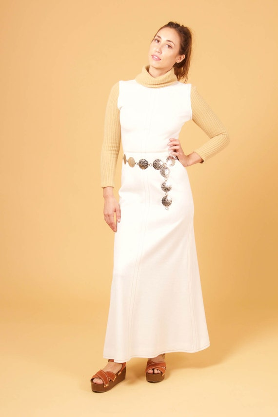vtg CREAM + TAN knit TURTLENECK dress