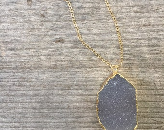 40% OFF!!  Natural Druzy Necklace - Gold Druzy Jewelry - Circle Druzy Necklace - Delicate Necklace - Autumn Druzy Necklace